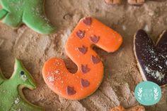 Dino Cookies!!! Orange and Green Dinosaur Birthday Party with Such Darling Ideas via Kara's Party Ideas KarasPartyIdeas.com #dinosaurparty #boyparty #dinosa...