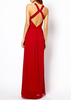Fine Quality Round Neck Open Back Red Gowns