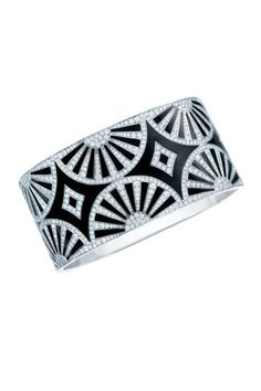 Tiffany & Co. Great Gatsby Jewelry Collection - Tiffany bangle with a fan motif of diamonds on black lacquer