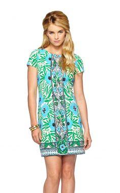 Layton Dress In Ikatty Engineered, Sea Oat
