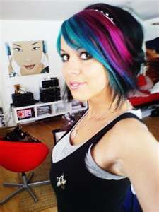 Blue & Pink Colored Emo Hairstyle with BangsCelebrity Emo Hairstyle