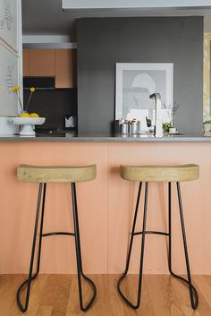 interior design, bedroom colors, peach, kitchen, bar stools