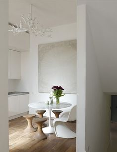 dining rooms, white spaces, white lights, light fixtures, chairs