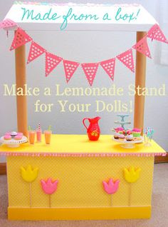 American Girl Doll Play: Doll Craft - Make a Lemonade Stand!   USE A WOOD BOX AND DOWELS