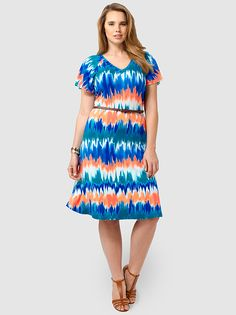 Ilene Dress In Volcano by Tart Collections,Available in sizes 1X-4X