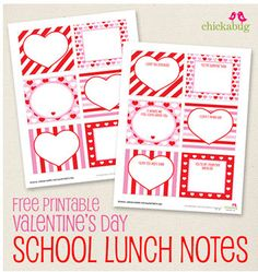 Free printable Valentines day school lunch notes