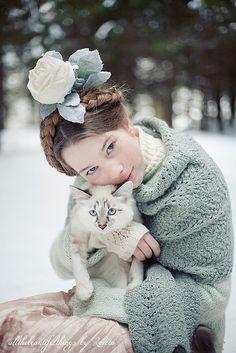 mori girl with cat
