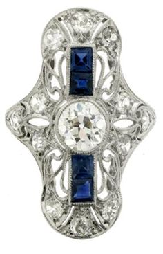 Diamond and sapphire dress ring, circa 1920.