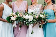 bride and bridesmaids, photo by Cassidy Parker Smith http://ruffledblog.com/notwedding-nyc #flowers #bouquets