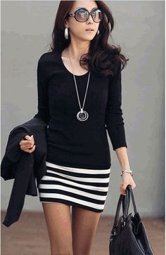 I completely LOVE this look. Totally my style. You know I will always love black. statement necklaces, casual skirt outfit, summer outfits, black white, black shoes, pencil skirts, casual outfits, long necklaces, casual long sleeve dresses