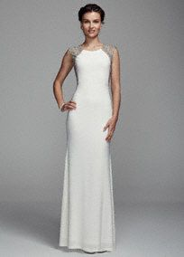 Make a grand entrance in this long and luxe illusion back jersey sheath dress!  Cap sleeve bodice features dramatic and eye-catching beaded illusion back detail.  Long jersey sheath dress is not only beautiful but comfortable to wear all night long.  Fully lined. Back zip. Imported. Dry clean only.  To protect your dress, try our Non Woven Garment Bag.