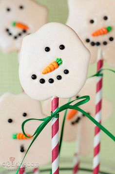 Melted Snowman Lollipops