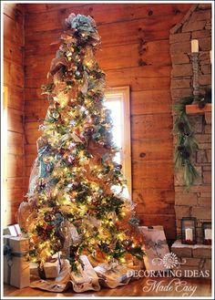 logs, countri christma, rustic christma, decorated christmas trees, cabin tree, log cabins, christma tree, main christma, log cabin christmas