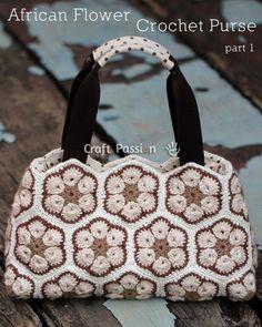 Crochet African Flower Purse Pattern and Tutorial