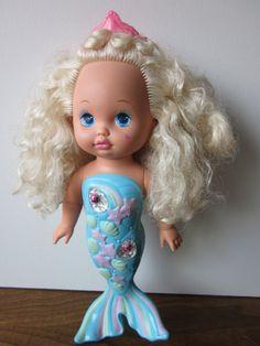 My sister had this pretty singing mermaid doll! ~   Vintage Li'l Miss Singing Mermaid Doll from Mattel, 1988  #80s #90s #mermaid #doll #vintage
