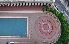 Pool and fountain from above.