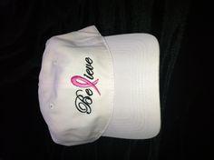 Order yours today!!   Believe Breast Cancer Awareness Cap.  $12.00  www.shop.clssp.com