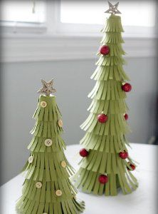 Try making these Easy Peasy Paper Trees to decorate your house for Christmas!