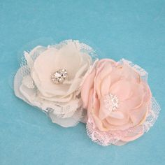 Wedding hair flower set Blush Pink and Ivory Lace by HARTfeltart, $26.00