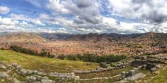 A partial view of the ruins of the Incan fortress, Sacsahuaman in the foreground with the former Incan capital of Cusco in the valley below. Most of the stones that were once here as buildings were used to build many of the Spanish colonial structures still standing in Cusco. There is still much to see at Sacsahuaman beyond the incredible view of the city. The humongous stones used in the terraces are mind blowing! (How did they get... Discovered by Michelle Finseth at Sacsahuaman, Peru
