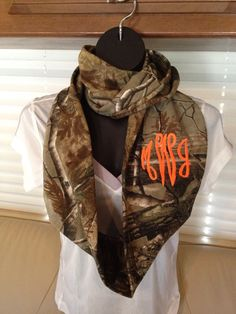 Just in time for hunting season!! Monogrammed Realtree Camouflage Infinity Scarf done with Hunter's Orange thread by LilCsBoutique