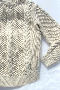 Aran fisherman's sweater. It is said the designs were all made different so a fisherman's body could be recognized if he later washed up from being lost at sea. #knit #knitstitch #cableknit #knitcable #cablestitch #cables