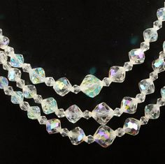 Crystal Aurora Borealis 3-Strand Necklace Choker Vtg. $18.00, via Etsy.