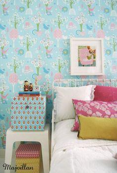 kids room//decor.. interior, girl room, beds, color, wallpaper kids room, kid rooms, happy kids, children, kid roomdecor