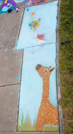 Chalk art giraffe by my talented cousin!