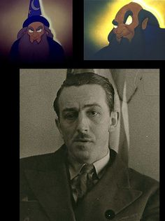 Walt Disney used to supervise his animators and raise his eyebrow when unsatisfied with a detail. The look became so famous around the studio that the animators parodied it in Fantasia and named the magician YenSid (backwards Disney)