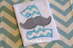 Mustache Birthday Turquoise ChevronANY age or by XOXOAsh on Etsy, $22.00