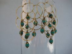12 Karat Gold Fill Cascading Chandelier Earrings with by 3tomatoes, $120.00