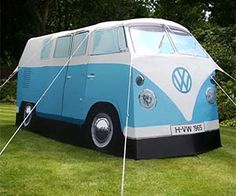 buses, camping fun, bus camp, volkswagen bus, vw camper vans, vw vans, van tent, blues, camp tent