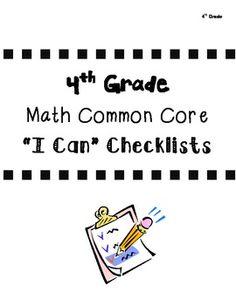 4th Grade Math Common Core Checklists (All Domains)