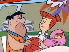 Fred and Wilma Flintstone taking Pebbles home from the hospital