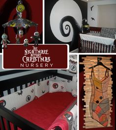 Omg nightmare before Christmas nursery how cute is that mural? I want one now... Wouldn't it be great with outline of Sally holding up her child or her And jack cradling the baby? How cute! I would do a crib set to match Sally's dress though