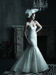 Allure Bridals : Couture Collection : Style C200 : Available colours : White/Silver, Ivory/Silver