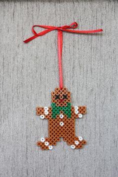 #Gingerbread Man perler beads #hama #perler #beads #ikea #pyssla  #xmas #decorations #diy #christmas #natale #idea #facile #faidate #easy #todo #decorazione #craft #kids #lavoretti #inspiration #noel