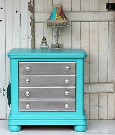 metallic furniture. Silver metallic and turquoise paint. Petticoat Junktion. #metallicpaint