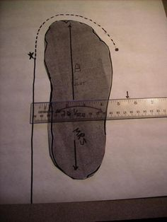 "Tracing pattern 2 - heel one and a half inches from edge of paper; 3/4"" from toes."
