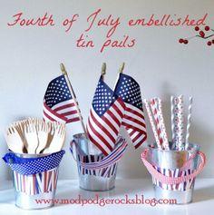 Fourth of July craft: embellished tin pails