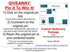 GIVEAWAY - Pin It To Win It: To Win This Item from NewCreatioNZ.etsy.com follow the instructions: Click on ORIGINAL pin, comment leaving a way to contact you, REPIN the ORIGINAL Pin! Contest ends 7/12/12 @ 11:59pm EST. Winner announced 7/13/12.