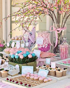 shower ideas, dessert tables, birthday parties, candi, garden parties, flowers garden, pink parties, bridal showers, baby showers