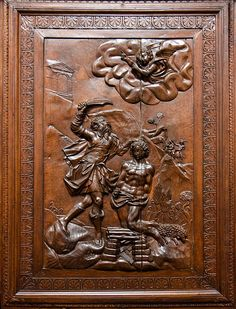 Detail of wood panelling in San Giorgio Maggiore - Possibly Abraham about to sacrifice Isaac