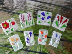 fused glass, glass FLOWER tiles, handmade,  mosaic, glass art, craft projects. £9.99, via Etsy.