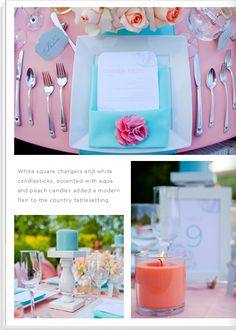 "Part 2: ""Southern Chic""- Colors: pink + aqua + peach + white... tablesetting pictures"