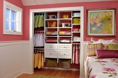 Tip of the Day: Add drawers in the closet and eliminate the need for a dresser in children's' rooms. Removing a bulky dresser opens up floorspace for more play room.