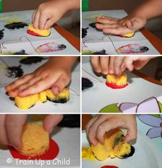 Sponge painting for fine motor practice and Kiwi Crate Summer of Giving