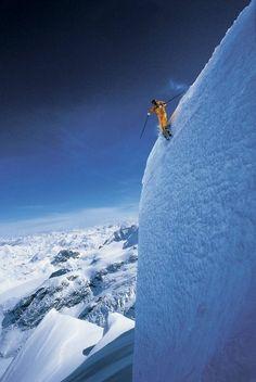 Steep slope skiing