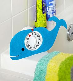 "Time Out! This cheerful whale can help reduce the length of your family's showers by giving a friendly ""ding!"" when it's time to finish up. Bonus: Using the timer just might make the morning routine go more smoothly."